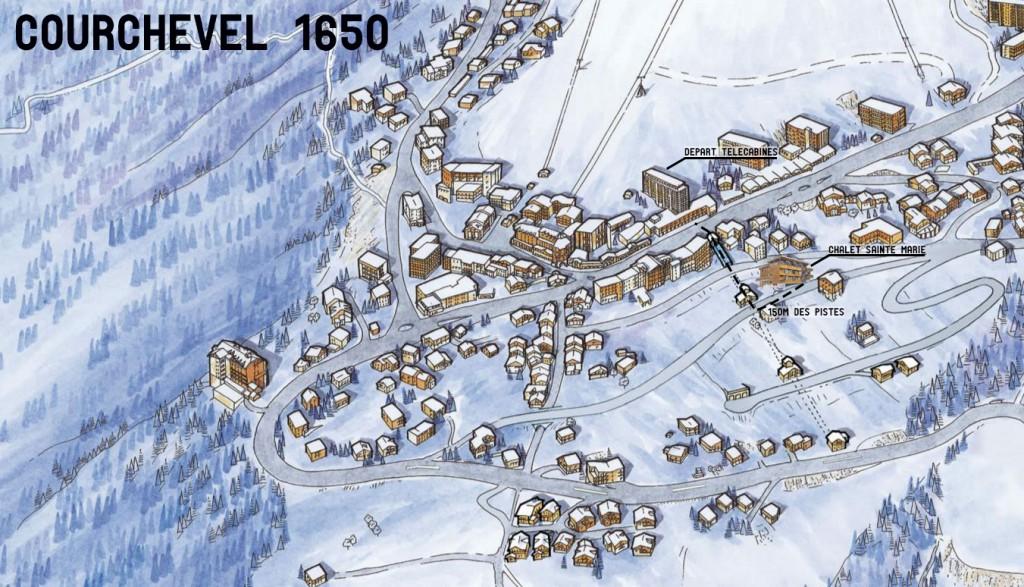 Plan proximité du Chalet Sainte Marie et des pistes